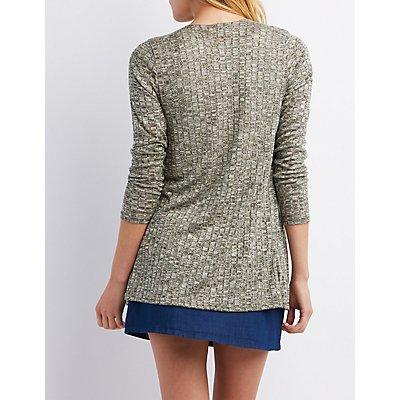 Ribbed & Marled Longline Cardigan Sweater