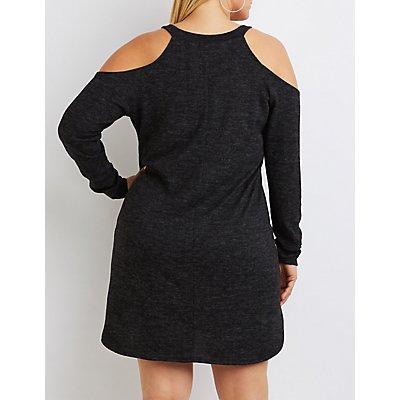 Plus Size Marled Cold Shoulder Shift Dress