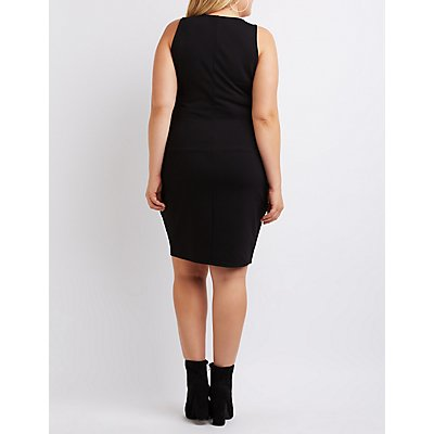Plus Size Mesh-Trim Notched Bodycon Dress