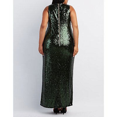 Plus Size Sequin V-Neck Maxi Dress