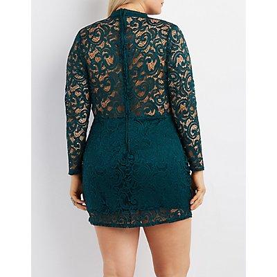 Plus Size Lace Mock Neck Cut-Out Dress