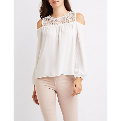 Crochet Yoke Cold Shoulder Top