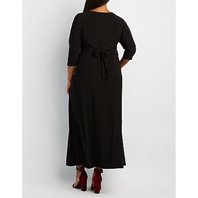 Plus Size Plunging Ruched Maxi Dress