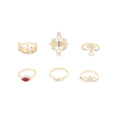 Embellished Cocktail Rings - 6 Pack