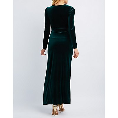 Velvet Surplice Maxi Dress