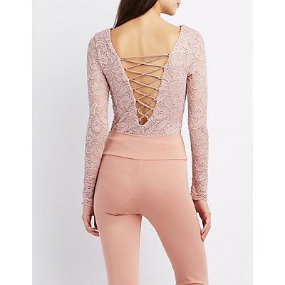 Lace Lattice-Back Bodysuit