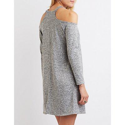Marled Cold Shoulder Shift Dress