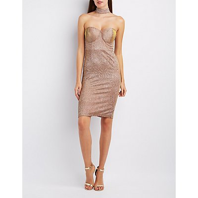 Shimmer Floating Mock Neck Bodycon Dress