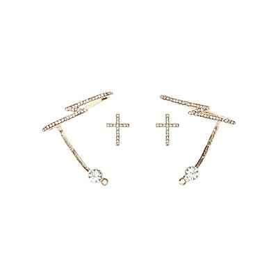Embellished Ear Cuffs & Statement Earrings Set