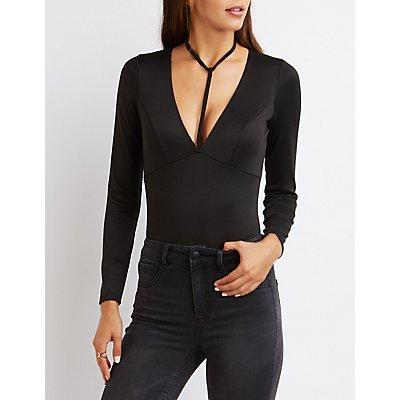 Plunging T-Strap Bodysuit
