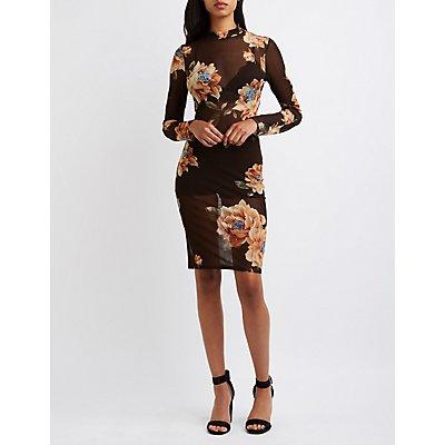 Sheer Floral Mesh Bodycon Dress
