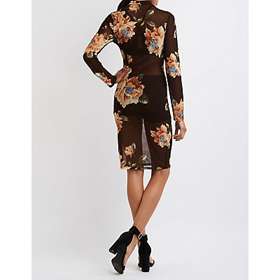 Sheer Floral Mesh Bodycon Dress