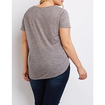 Plus Size Marled Cut-Out Tee