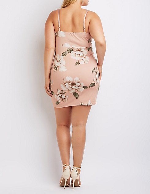 Plus Size Floral Notched Bodycon Dress   Charlotte Russe