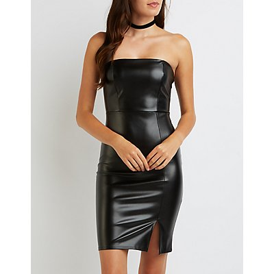 Faux Leather Strapless Bodycon Dress