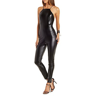 Faux Leather Bib Neck Jumpsuit