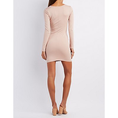 Lattice-Front Bodycon Dress