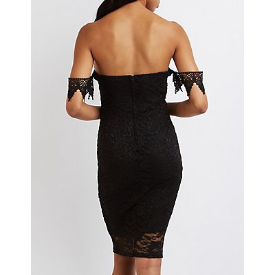 Lace Off-The-Shoulder Notched Dress