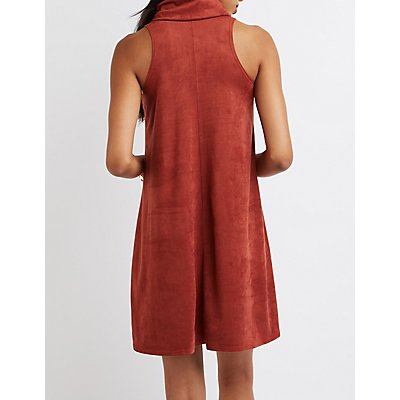Faux Suede Cowl Neck Shift Dress