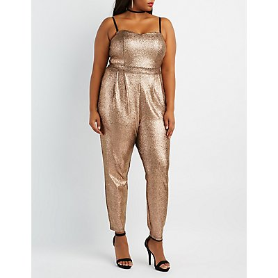 Plus Size Shimmer Sweetheart Jumpsuit