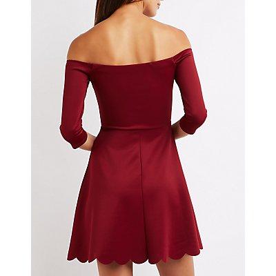 Off-The-Shoulder Scalloped Skater Dress