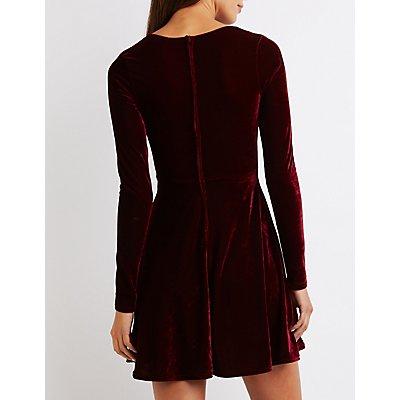 Velvet V-Neck Skater Dress