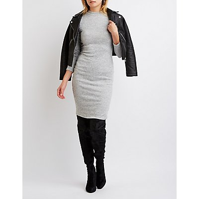 Marled Mock Neck Bodycon Dress