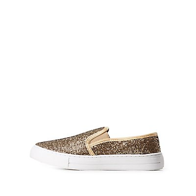 Qupid Glittery Slip-On Sneakers