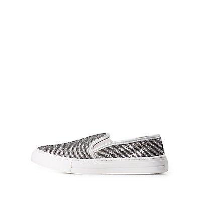 Qupid Glittery Slip-On Sneakers