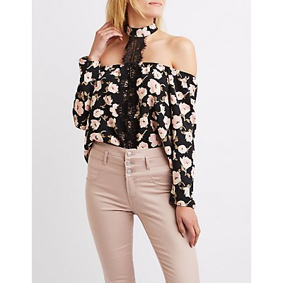 Floral Lace-Trim Mock Neck Top