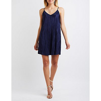 Micro Pleated Bar Back Shift Dress
