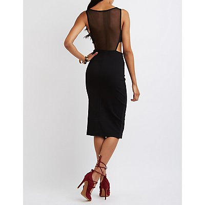 Mesh Bodice Cut-Out Dress