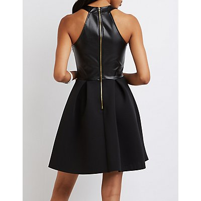 Faux Leather Bodice Skater Dress