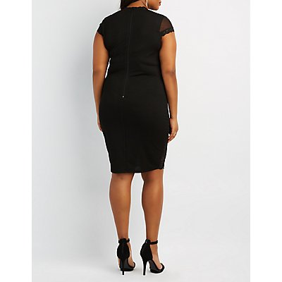 Plus Size Lace & Mesh Bodycon Dress