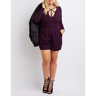 Plus Size Strappy Caged Romper