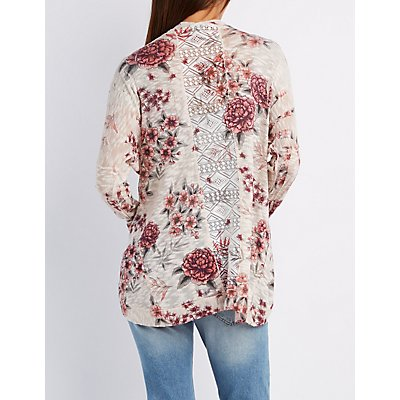 Floral Crochet-Back Cocoon Cardigan