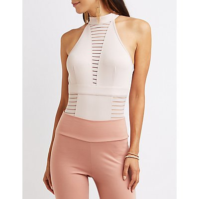 Mock Neck Shadow Stripe Bodysuit