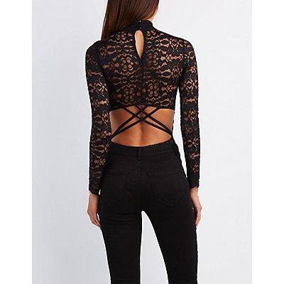 Lace Mock Neck Caged Bodysuit