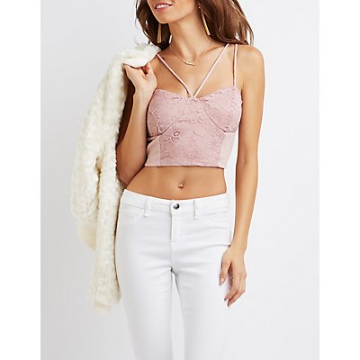 Strappy Lace-Panel Bustier Crop Top