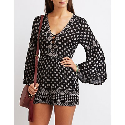 Printed Lattice Bell Sleeve Romper