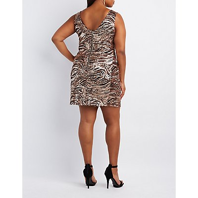 Plus Size Sequin Bodycon Dress