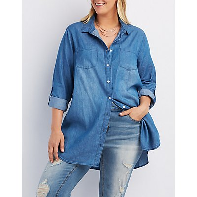 Plus Size Chambray Button-Up Tunic