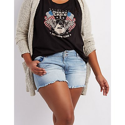 Plus Size Refuge Mid-Rise Shortie Denim Shorts