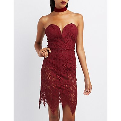 Eyelash Lace Strapless Bodycon Dress