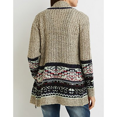 Patterned Shawl Collar Cardigan