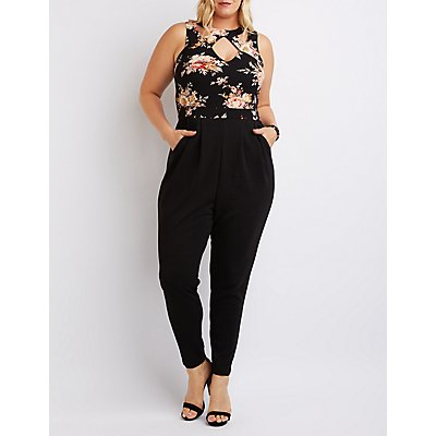 Plus Size Caged Floral Combo Jumpsuit