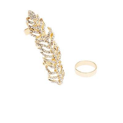 Plus Size Embellished Full Finger Ring