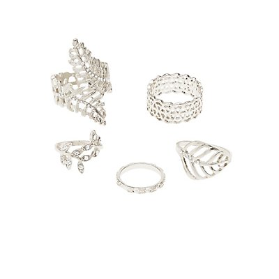 Plus Size Filigree Rings - 5 Pack