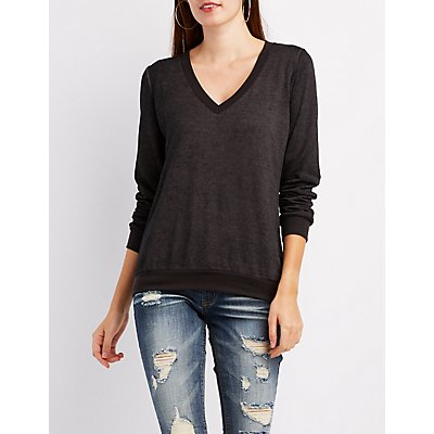 Mineral Wash V-Neck Sweatshirt