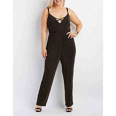 Plus Size Shimmer Strappy Caged Jumpsuit